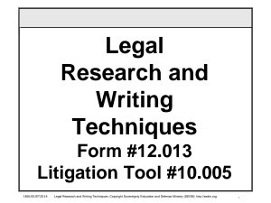 Legal Research and Writing Techniques Course  Form  12 013 PDF