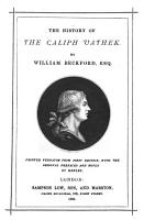 The History of the Caliph Vathek     Printed Verbatim from First Edition  with the Original Prefaces and Notes by Henley PDF