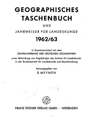 Geographisches Taschenbuch und Jahrweiser f  r Landeskunde PDF
