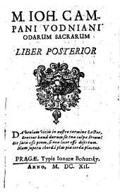 M. Ioh. Campani Vodniani Sacrarum odarum: Liber posterior
