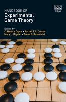 Handbook of Experimental Game Theory PDF