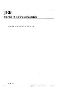 JBR Journal of Business Research  Volume 14  Number 5  October 1986
