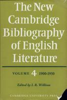 The New Cambridge Bibliography of English Literature  Volume 4  1900 1950 PDF