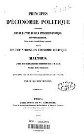 Principes d'économie politique considérés sous le rapport de leur application pratique: suivis des définitions en économie politique