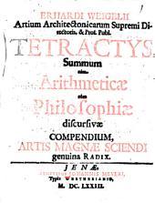 Tetractys sumum tum Arithmeticae tum Philosophiae discursivae compendium, artis magnae sciendi g. radix