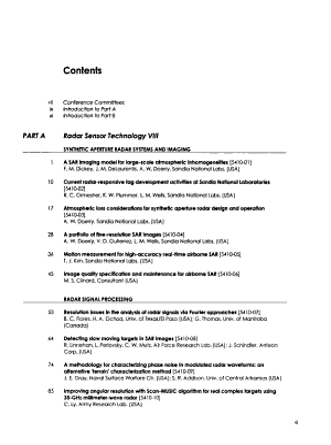 Radar Sensor Technology VIII PDF