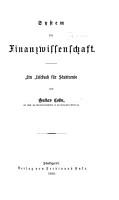 System der National  konomie  Bd  Finanzwissenschaft PDF