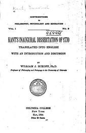 Kant's Inaugural Dissertation of 1770