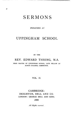 Sermons Preached at Uppingham School