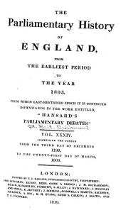 Cobbett's Parliamentary History of England: From the Norman Conquest, in 1066, to the Year, 1803, Volume 34