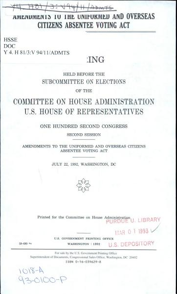 Amendments to the Uniformed and Overseas Citizens Absentee Voting Act PDF