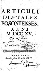 Articuli diaetales Posonienses, Anni M.DCC.XV