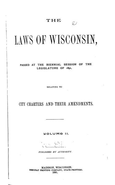 Download The Laws of Wisconsin Book