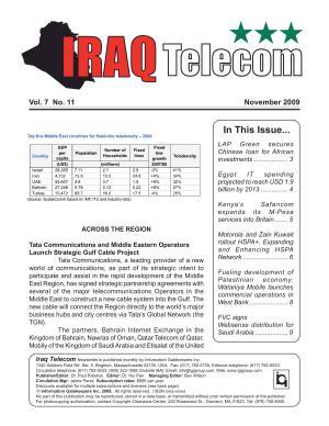Iraq Telecom Monthly Newsletter November 2009 PDF