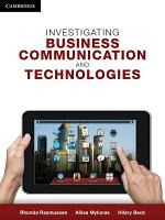 Investigating Business Communication and Technologies PDF