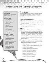 Writing Lesson Level 6--Organizing the Writer's Notebook