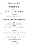Specimens of Early English  From Robert of Gloucester to Gower  A D  1298 PDF