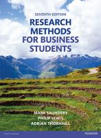 Research Methods for Business Students PDF eBook PDF