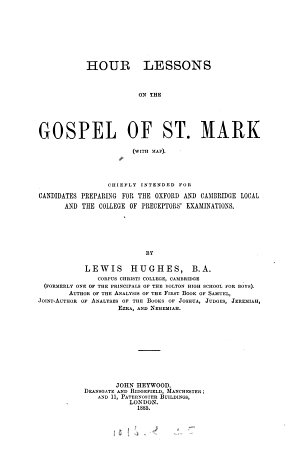 Hour lessons on the Gospel of st  Mark