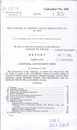 The Fairness in Asbestos Injury Resolution Act of 2003 PDF