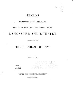 Notitia Cestriensis  Or Historic Notices of the Diocese of Chester