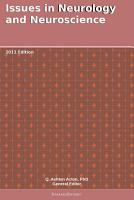 Issues in Neurology and Neuroscience  2011 Edition PDF
