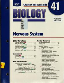 Holt Biology Chapter 41 Resource File  Nervous System PDF