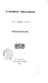 's Konings verjaardag: (24 augustus 1831) : volksgezang, voor vier stemmen