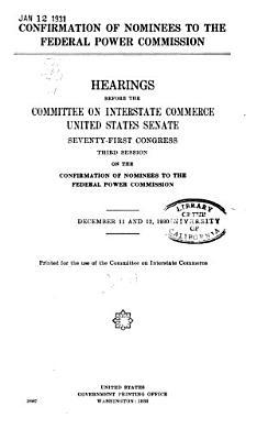 Investigation of Federal Regulation of Power