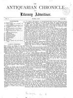 The Antiquarian Chronicle and Literary Advertiser PDF