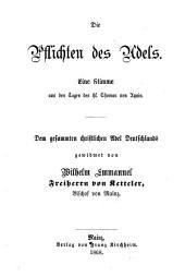 Die Pflichten des Adels: eine Stimme aus den Tagen des hl. Thomas von Aquin ; dem gesammten christlichen Adel Deutschlands gewidmet