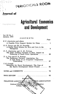Journal of Agricultural Economics and Development