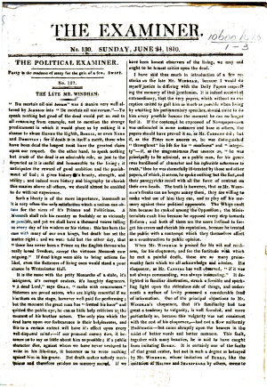 The Late Mr  Windham   Obituary Notice Extracted from The Examiner  June 24  1810   PDF