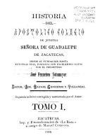 Historia del Apost  lico Colegio de Nuestra Se  ora de Guadalupe de Zacatecas PDF