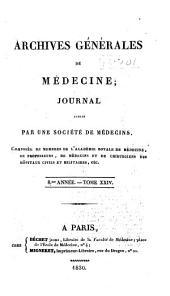 Archives générales de médecine: Volume24