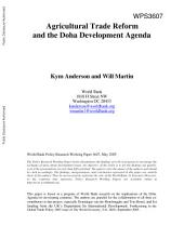 Agricultural Trade Reform and the Doha Development Agenda: Volume 763