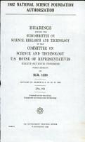 1982 National Science Foundation Authorization PDF