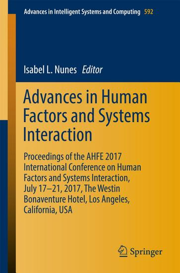 Advances in Human Factors and Systems Interaction PDF