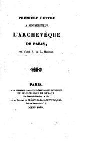 Première lettre à monseigneur l'archevêque de Paris