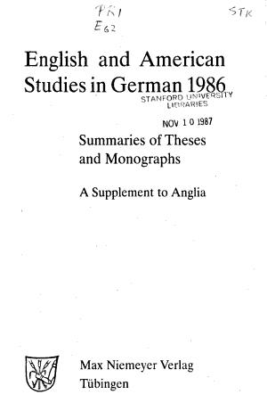 English and American studies in German PDF
