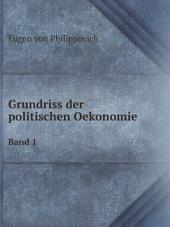 Grundriss der politischen Oekonomie