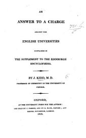 An answer to a charge against the English Universities contained in the Supplement to the Edinburgh Encyclopædia. (Syllabus of a course of chemical Lectures read at the Museum, Oxford, in ... 1815, 1816, and 1817.).