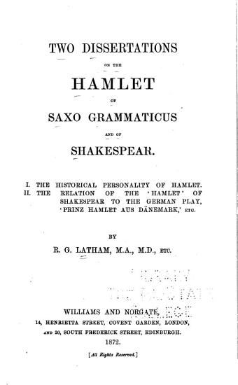 Two Dissertations on the Hamlet of Saxo Grammaticus and of Shakespear PDF