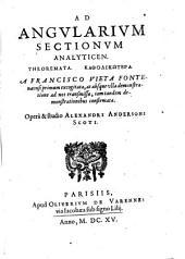 Ad angularium sectionum analyticen theoremata katholikōtera