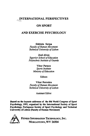 International Perspectives on Sport and Exercise Psychology PDF