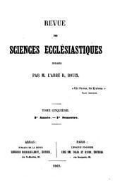 Revue des sciences ecclésiastiques: Volume5