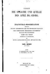 Ueber die sprache und quelle des afrz. Hg. Georg: Inaug.-diss