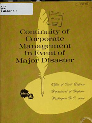Continuity of Corporate Management in Event of Major Disaster PDF