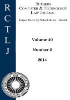 Rutgers Computer   Technology Law Journal  Volume 40  Number 2   2014 PDF