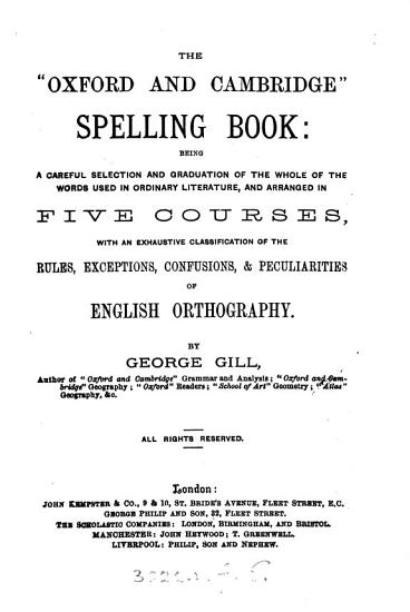 The  Oxford and Cambridge  spelling book PDF